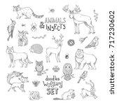doodles woodland set of animals ... | Shutterstock .eps vector #717230602