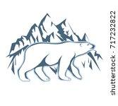 white polar bear drawn against... | Shutterstock .eps vector #717232822