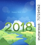2018 happy new year card... | Shutterstock .eps vector #717234562