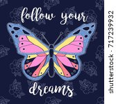 follow your dreams slogan and... | Shutterstock .eps vector #717239932