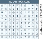 simple set of safe home related ... | Shutterstock .eps vector #717241216