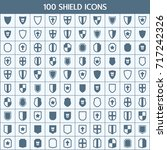 simple set of shield related... | Shutterstock .eps vector #717242326