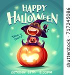 happy halloween. halloween... | Shutterstock .eps vector #717245086