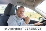 nervous and angry driver ... | Shutterstock . vector #717250726