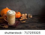 pumpkin spice latte. cup of... | Shutterstock . vector #717255325