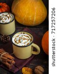 hot chocolate with pumpkin pie... | Shutterstock . vector #717257206