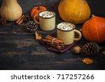 hot chocolate with pumpkin pie... | Shutterstock . vector #717257266