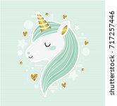 cute vector unicorn. trendy...   Shutterstock .eps vector #717257446