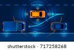 autonomous car parking assist... | Shutterstock . vector #717258268
