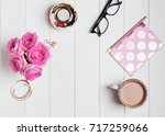 woman's accessories  roses and... | Shutterstock . vector #717259066