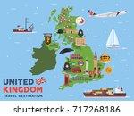 modern united kingdom famous... | Shutterstock .eps vector #717268186