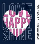 love happy slogan with pink... | Shutterstock .eps vector #717268432