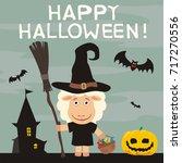 happy halloween  greeting card... | Shutterstock .eps vector #717270556