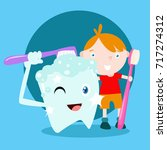 dental health campaign for kid. ... | Shutterstock .eps vector #717274312