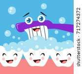 dental health campaign for kid. ... | Shutterstock .eps vector #717274372