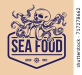 sea food logo with octopus hand ... | Shutterstock .eps vector #717278662