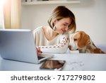 caucasian businesswoman playing ... | Shutterstock . vector #717279802