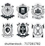 old style heraldry  heraldic... | Shutterstock .eps vector #717281782