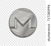 silver monero coin symbol... | Shutterstock .eps vector #717283996