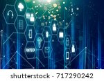 fintech icon and internet of...   Shutterstock . vector #717290242