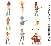 musicians and singers of...   Shutterstock .eps vector #717294976
