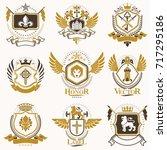 vector classy heraldic coat of... | Shutterstock .eps vector #717295186