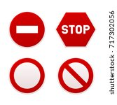 stop sign set. vector | Shutterstock .eps vector #717302056