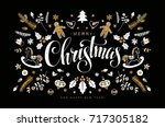 christmas postcard with hand... | Shutterstock .eps vector #717305182