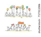 sketch of crowd little people.... | Shutterstock .eps vector #717311086
