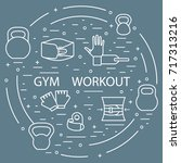 powerlifting gym workout... | Shutterstock .eps vector #717313216