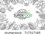 vector illustration superfood... | Shutterstock .eps vector #717317185
