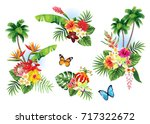 tropical summer arrangements... | Shutterstock .eps vector #717322672