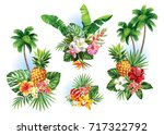 Stock vector tropical summer arrangements with palm trees leaves exotic flowers and fruits vector 717322792