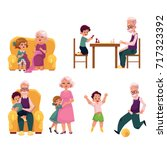 grandparent spending time with... | Shutterstock .eps vector #717323392