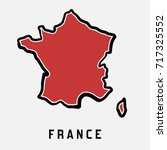france simple map outline  ... | Shutterstock .eps vector #717325552