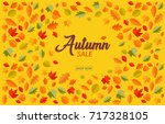 autumn sale banner with falling ... | Shutterstock .eps vector #717328105