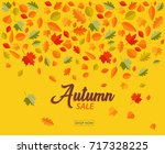 autumn sale banner with falling ... | Shutterstock .eps vector #717328225