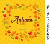 square autumn sale banners with ... | Shutterstock .eps vector #717328258