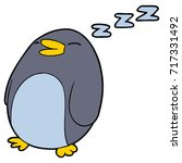 cartoon sleeping penguin | Shutterstock .eps vector #717331492