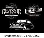 classic car typography emblems... | Shutterstock . vector #717339352