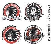 set of american indian round... | Shutterstock . vector #717340135