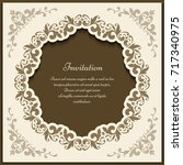 vintage gold frame with floral... | Shutterstock .eps vector #717340975