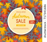 autumn sale flyer template.... | Shutterstock .eps vector #717341686
