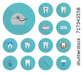 flat icons halitosis  hygiene ... | Shutterstock .eps vector #717343558