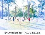 blurred group of multiethnic ... | Shutterstock . vector #717358186