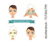 beauty treatment illustrations  ... | Shutterstock .eps vector #717361795