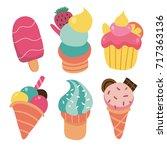 summer icecream collection   Shutterstock .eps vector #717363136