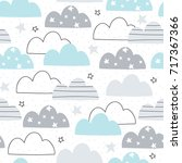 seamless clouds pattern vector... | Shutterstock .eps vector #717367366