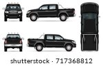 black pickup truck vector mock... | Shutterstock .eps vector #717368812