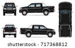 Black Pickup Truck Vector Mock...